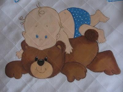 fralda para bébé pintada á mão