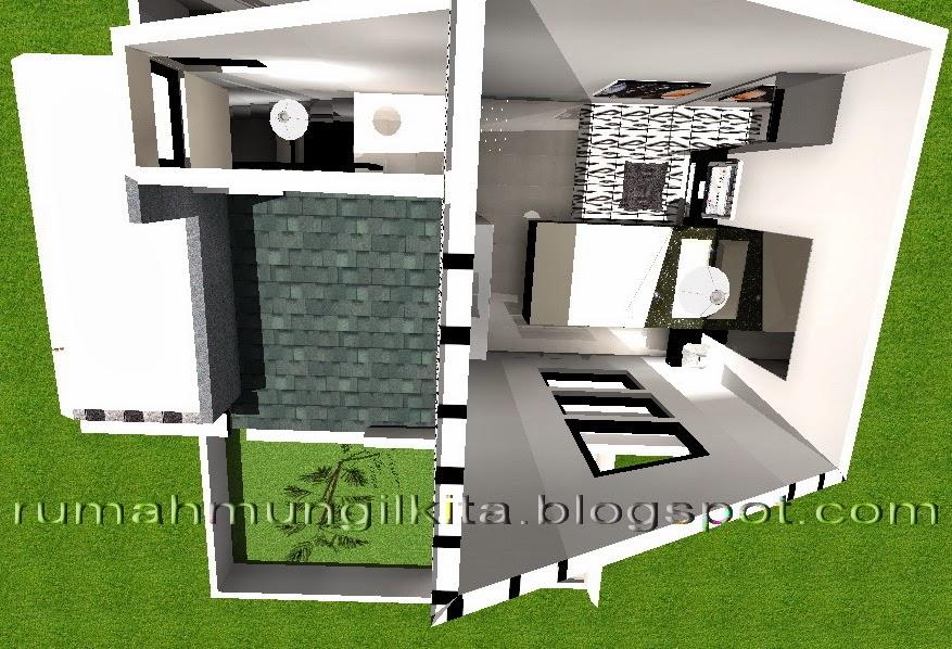 denah rumah tipe 38 tanah 70 desain hitam putih