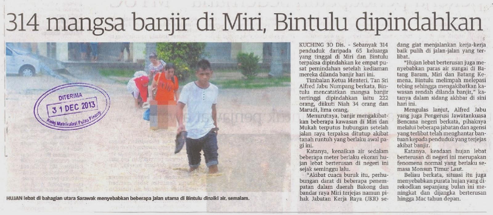 KERATAN AKHBAR KMPP: 314 mangsa banjir di Miri, Bintulu dipindahkan ...