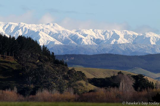 Cold weather, snow on the ranges, pictured from Roy's Hill, SH50, Hastings. photograph