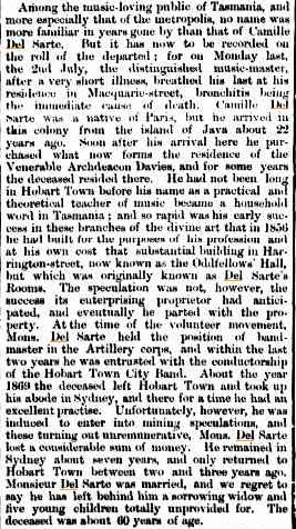 Obituary for Camille Del Sarte 1877