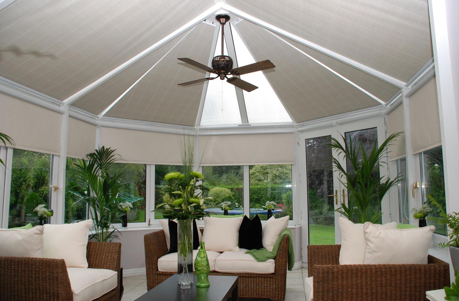 Modern conservatory design ideas - Hunter Ceiling Fan