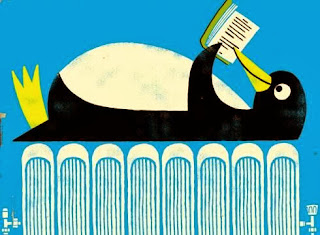 penguin reading book on radiator bed illustration by Paul  Thurlby