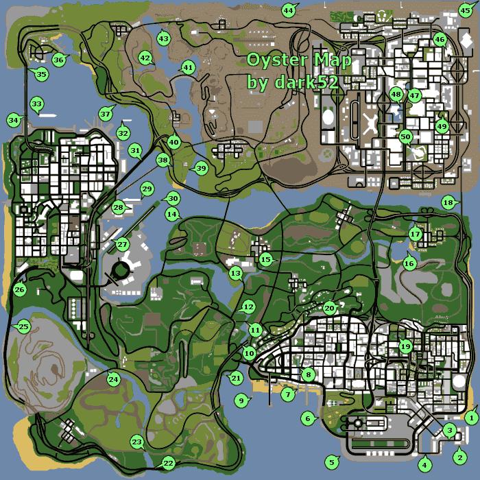 Map  Horseshoes  Oysters  amp  Snapshots Maps  amp  Location   PS2  PC  amp  XboxGta San Andreas Car Map