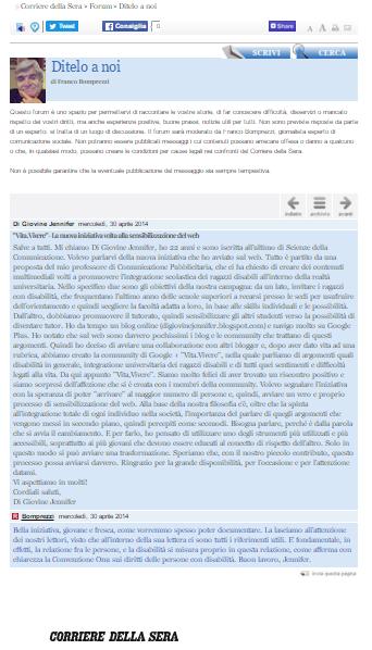 """Pubblicazione sul """"Corriere della Sera"""""""