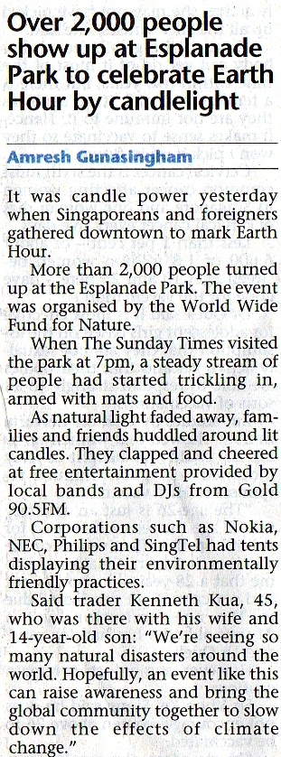 singapore earth hour straits times news article