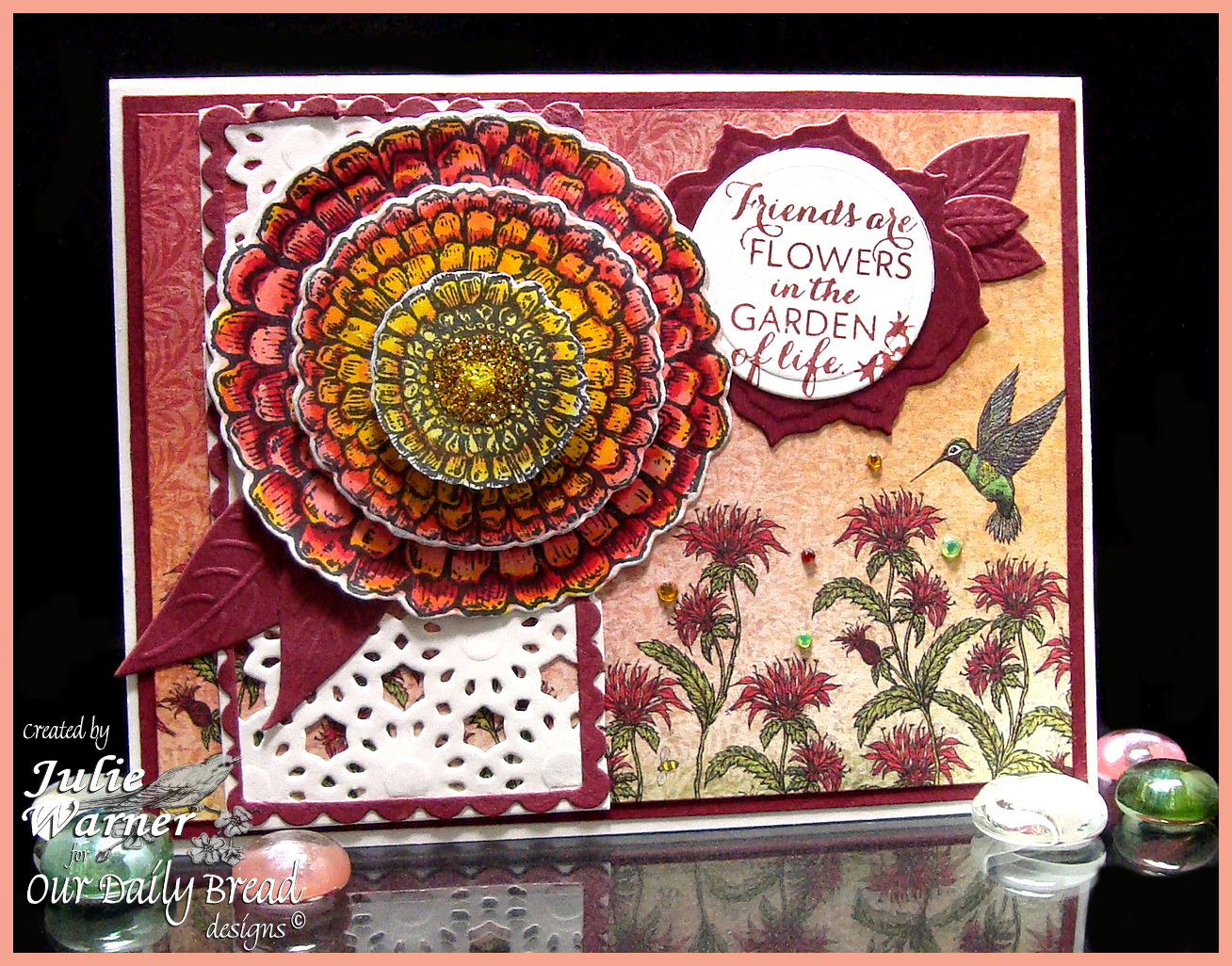 Stamps - Zinnia, ODBD Blooming Garden Paper Collection, ODBD Custom Zinnia and Leaves Die,ODBD Custom Daisy Chain Die,ODBD Custom Fancy Foliage Die