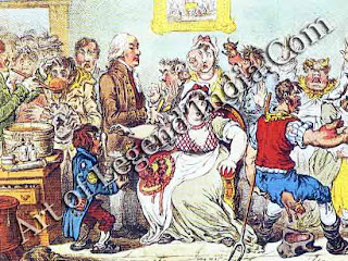 The first vaccinations In 1812, Edward Joiner the pioneer of vaccination against small-pox was awarded an MD at Oxford University. His treatment was quickly adopted both in England and abroad, but remained controversial. Gillray's savage cartoon 'shows' Joiner at work in his hospital at St Pancras, where the poor were inoculated free of charge.