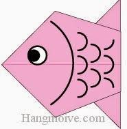 Bước 8: Vẽ mắt, vẽ vây cá để hoàn thành cách xếp con cá chép bằng giấy origami đơn giản.