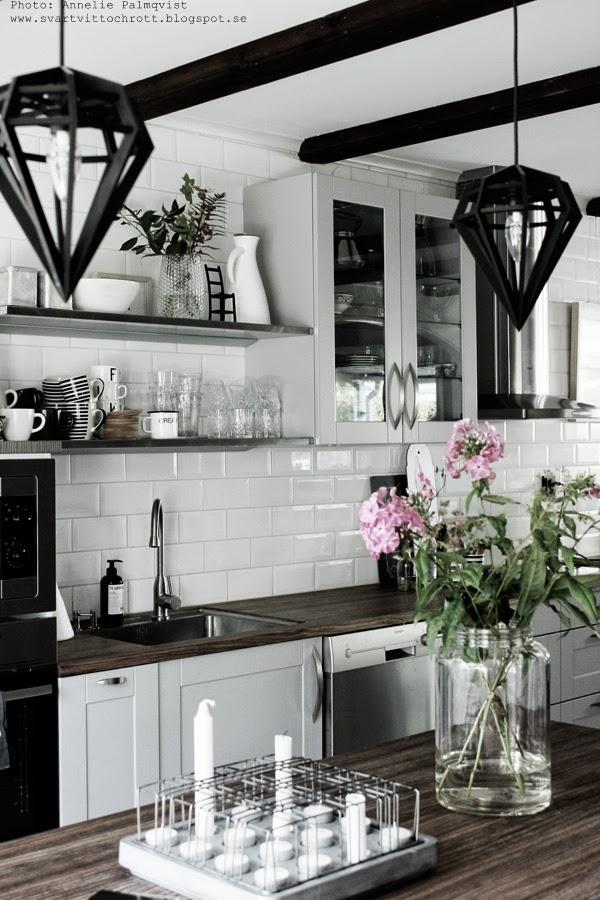 köksö, hth kök, köket, svart och vitt, svartvita, kökets, stumpastake, bloommor i vas, diskbänk, diskbänkar, bänkskiva, bänkskivor,