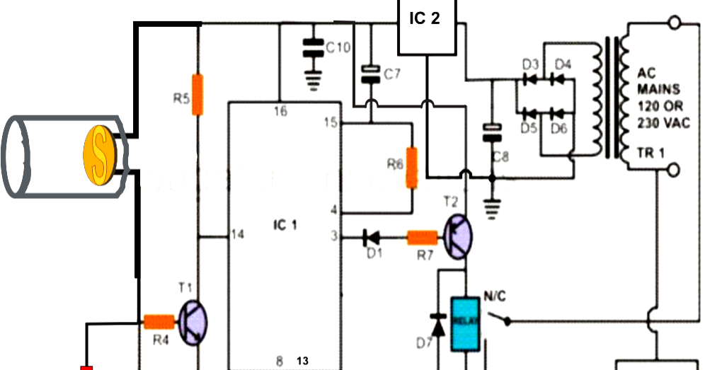 laser beam light activated remote control circuit
