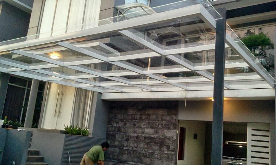 kanopi rumah minimalis fiber dan kaca nan elegan