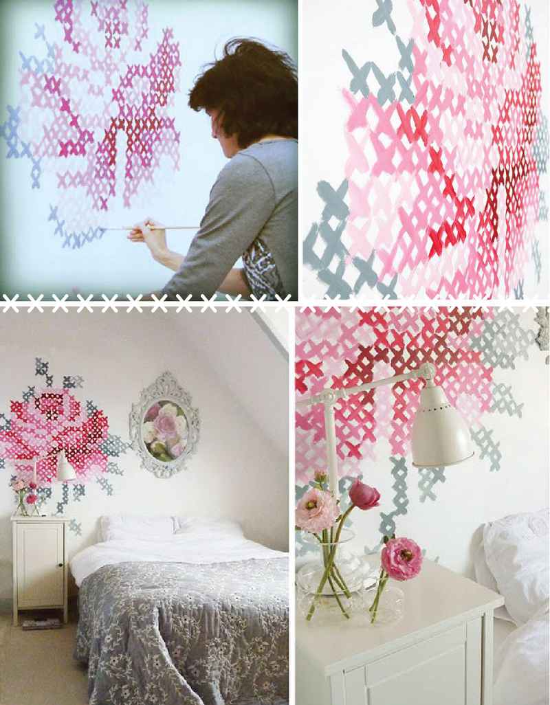 Atelier buffo renew your cross stitch style for Cross stitch wall mural