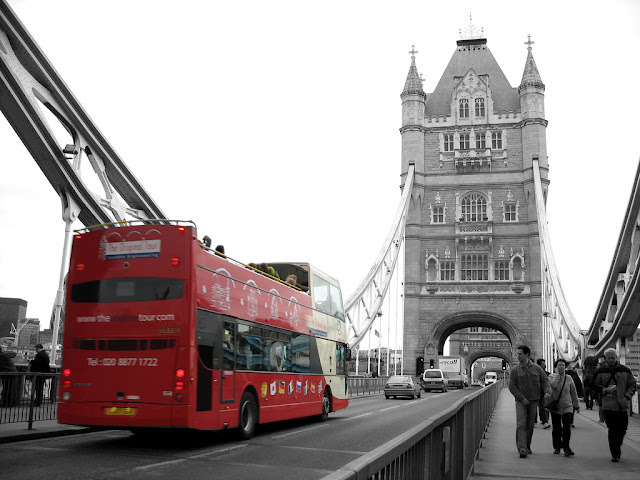 London Bus on London Bridge Black and white with Color Photo