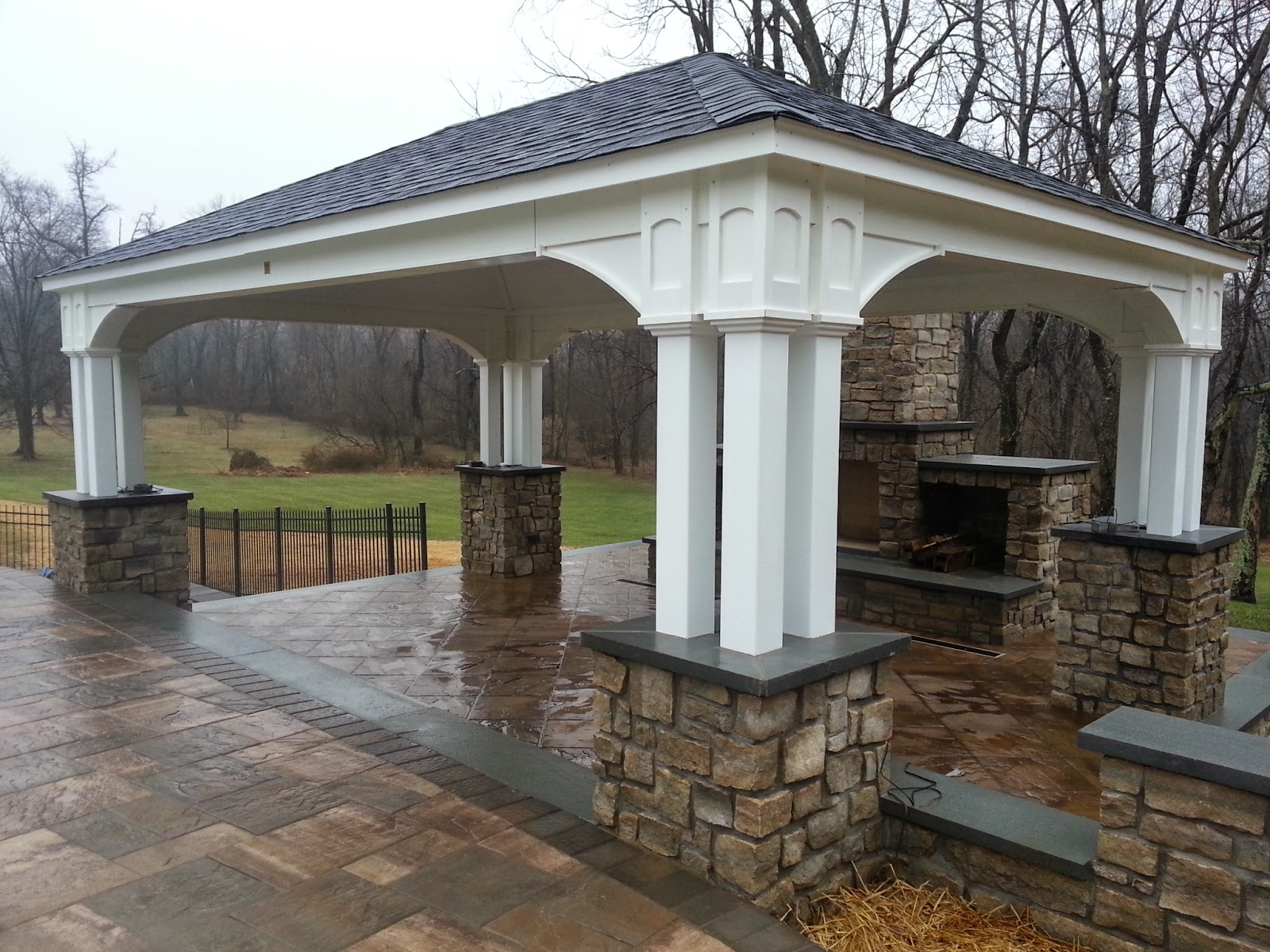Outdoor Pavilion Amp Fireplace Life Time Pavers