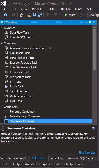Visual Studio 2013 - The SSIS Toolbox