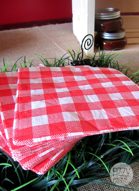 Red check napkins , BBQ theme, Father's Day