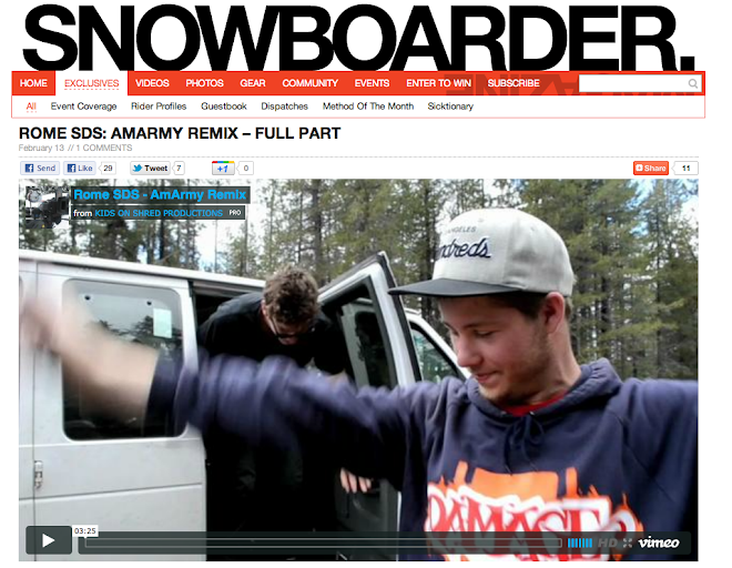 Went on a trip with Rome Snowboard's AM Army.  Got a few clips in here: