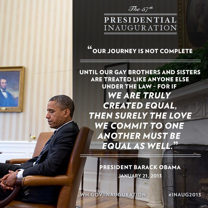 A Casa Branca está fazendo questão de divulgar essa parte do seu discurso em um poste do Facebook (Foto: Reprodução)