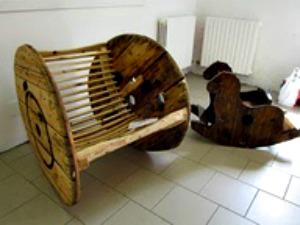 Carretel de madeira, bobina de madeira