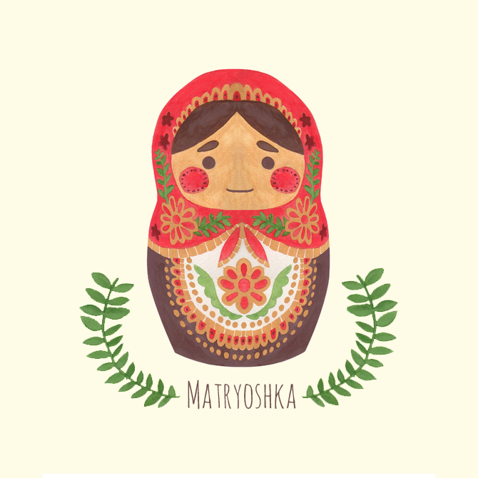 Matryoshka Doll Illustration Printed on Merchandise Illustration by Haidi Shabrina