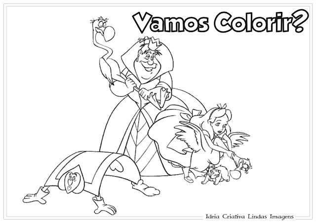 Alice no país das maravilhas Rainha de Copas desenho para colorir