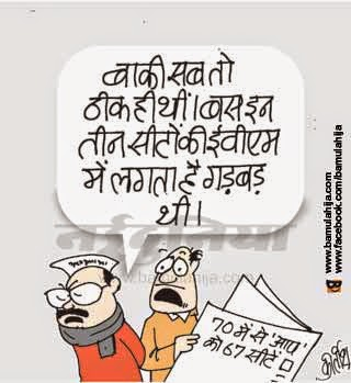 arvind kejriwal cartoon, aam aadmi party cartoon, Delhi election, evm, cartoons on politics, indian political cartoon