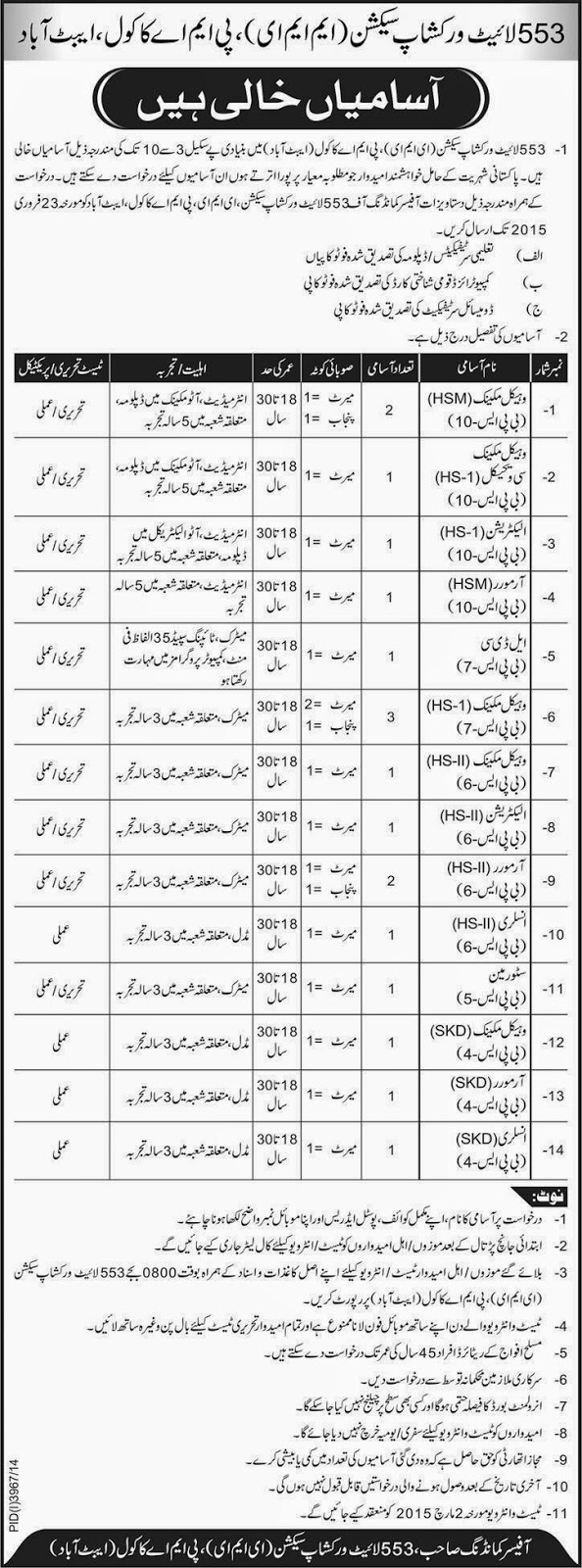 553 Light Workshop Section MME PMA Kakool Abbotabad Jobs