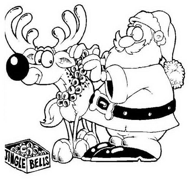 Papá Noel con Reno para colorear y pintar ~ Colorea el dibujos