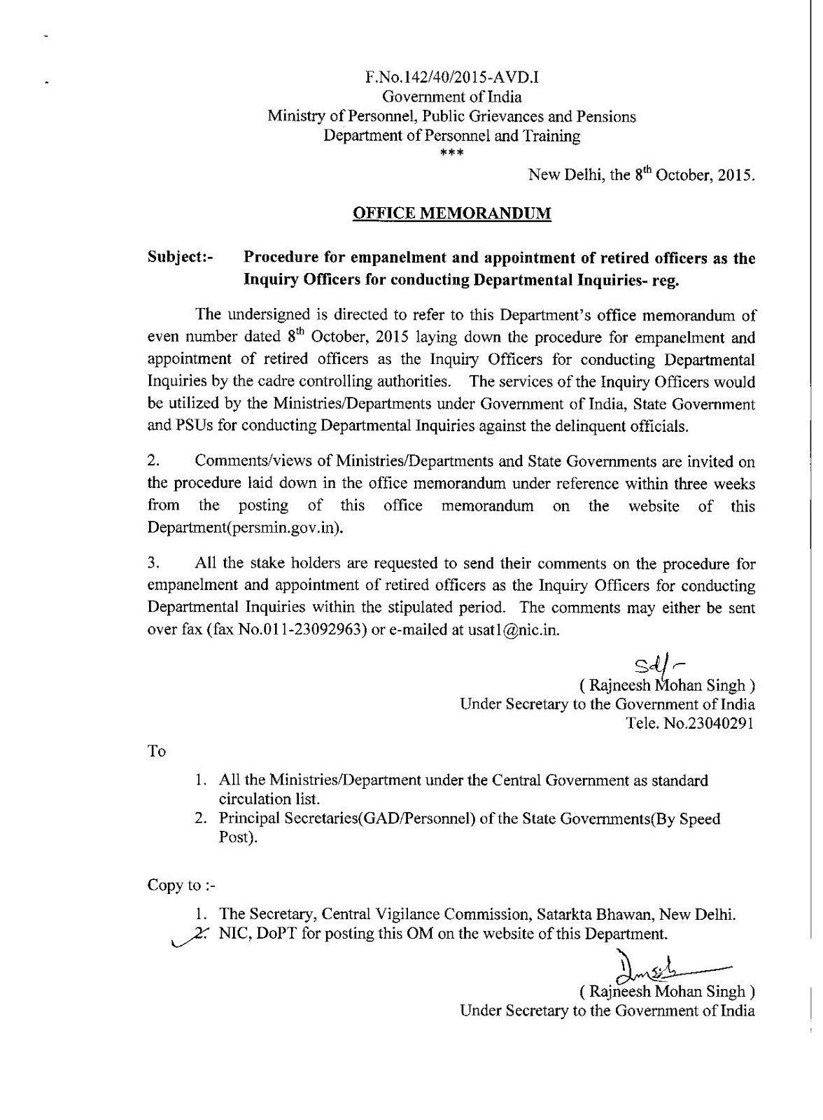 Procedure for empanelment and appointment of retired officers as procedure for empanelment and appointment of retired officers as the inquiry officers for conducting departmental inquiries spiritdancerdesigns Images