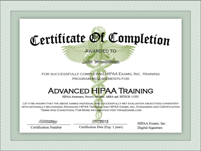 Javapda advanced hipaa training certificate of completion for Hipaa training certificate template