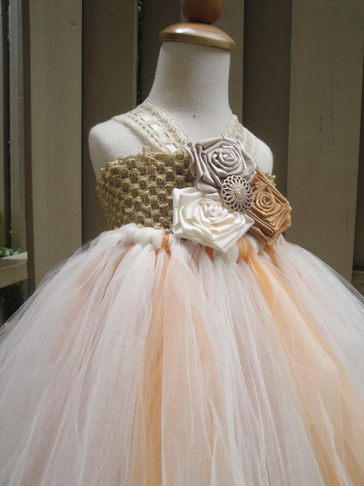 Rustic champagne gold flower girl tutu dress