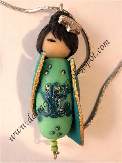 """Ciondolo """"La principessa e il ranocchio"""" Geisha+ranocchio"""
