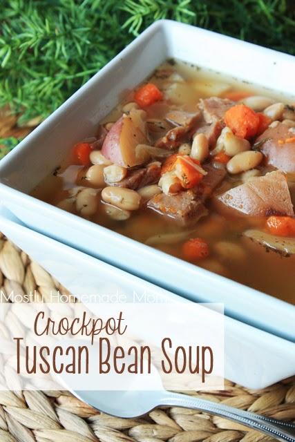 Crockpot Tuscan Bean Soup   Mostly Homemade Mom
