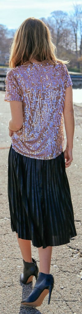 Light Pink Sequin Blouse with Black Pleated Skirt | Chic Street Outfits