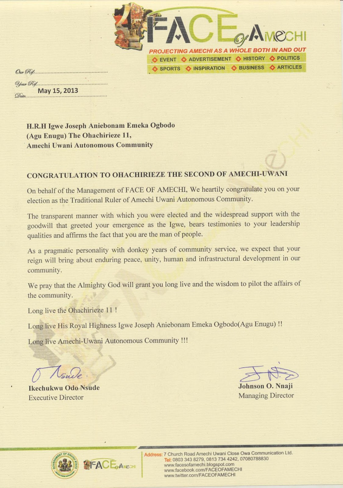 Congratulation letter to ohachirieze the second of amechi uwani hrh congratulation letter to ohachirieze the second of amechi uwani hrh igwe joseph aniebonam emeka ogbodo agu enugu on behalf of the management of face of thecheapjerseys Image collections