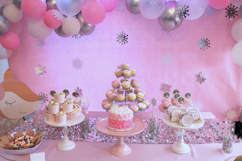 Winter 1st Birthday Boy or Girl Onederland Birthday Decorations Pink Pink and Silver Snowflake Backdrop I am 1 Photo Prop