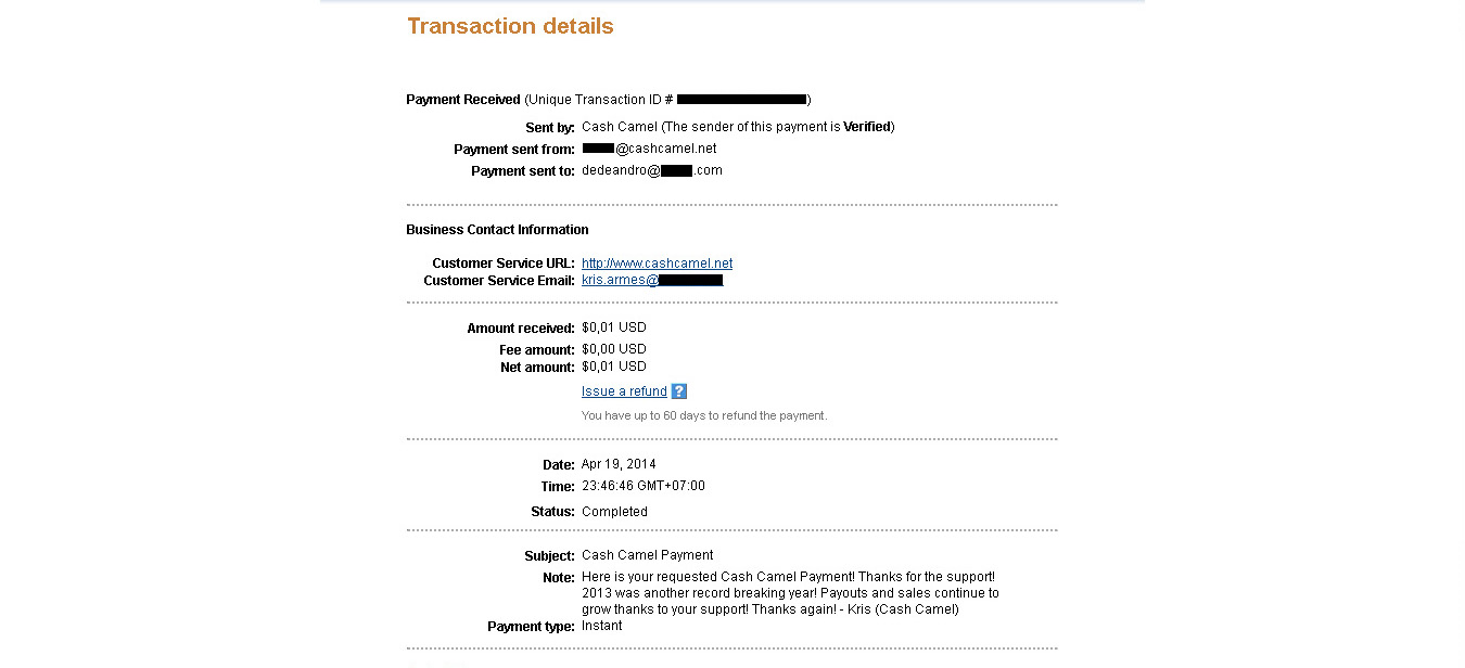 CashCamel Payment April 2014
