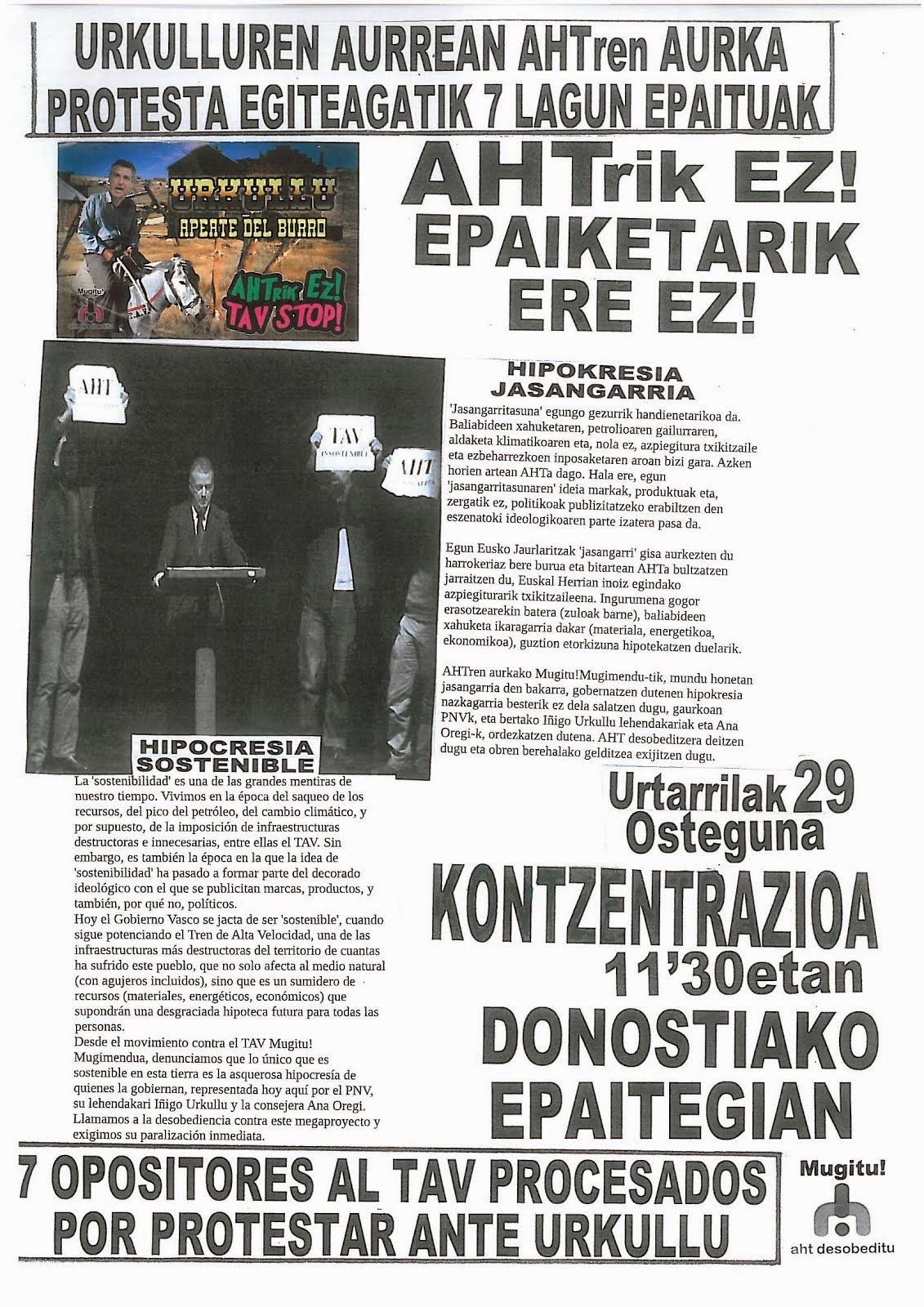 Imputados por protestar el TAV ante Urkullu