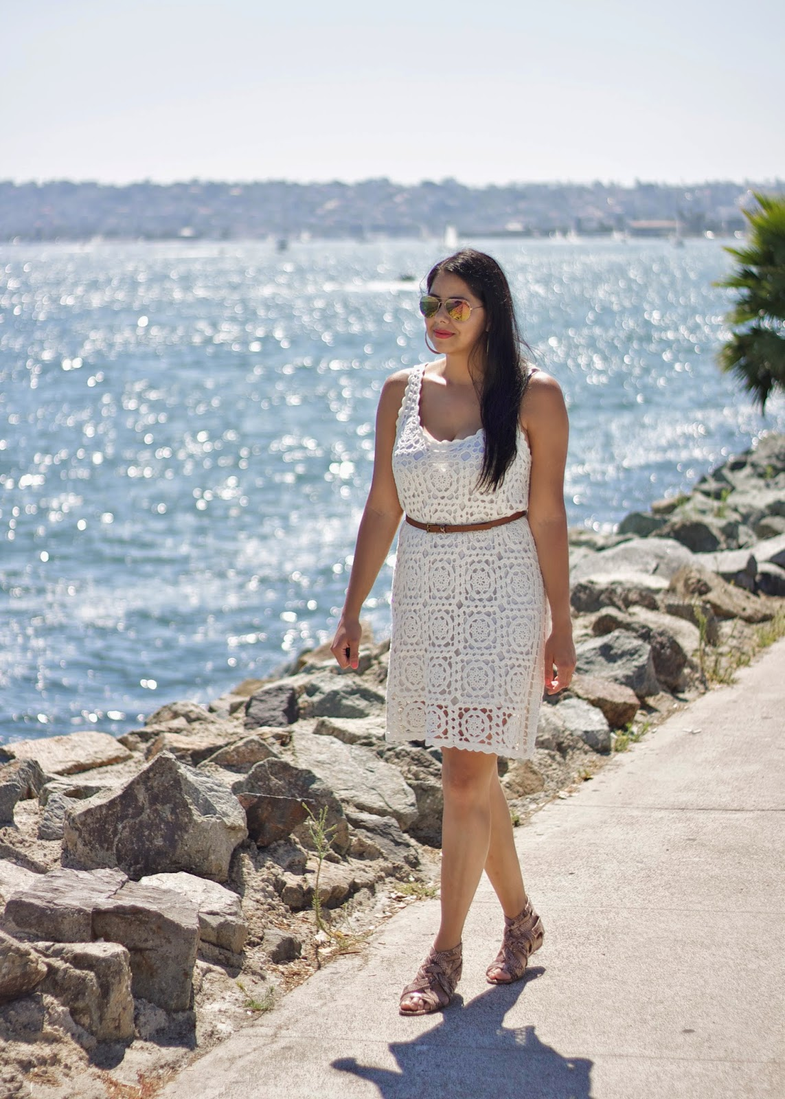 casual outfit in San Diego, san diego fashion blogger, san diego style blogger, san diego best blogger, san diego blogger, crochet dress with belt, crochet dress for Summer, Joie crochet dress, Marshalls crochet dress
