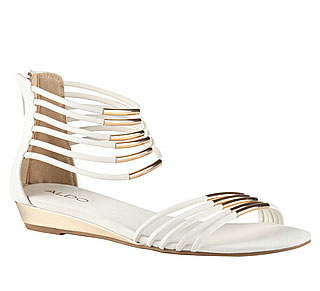 white and gold sandal