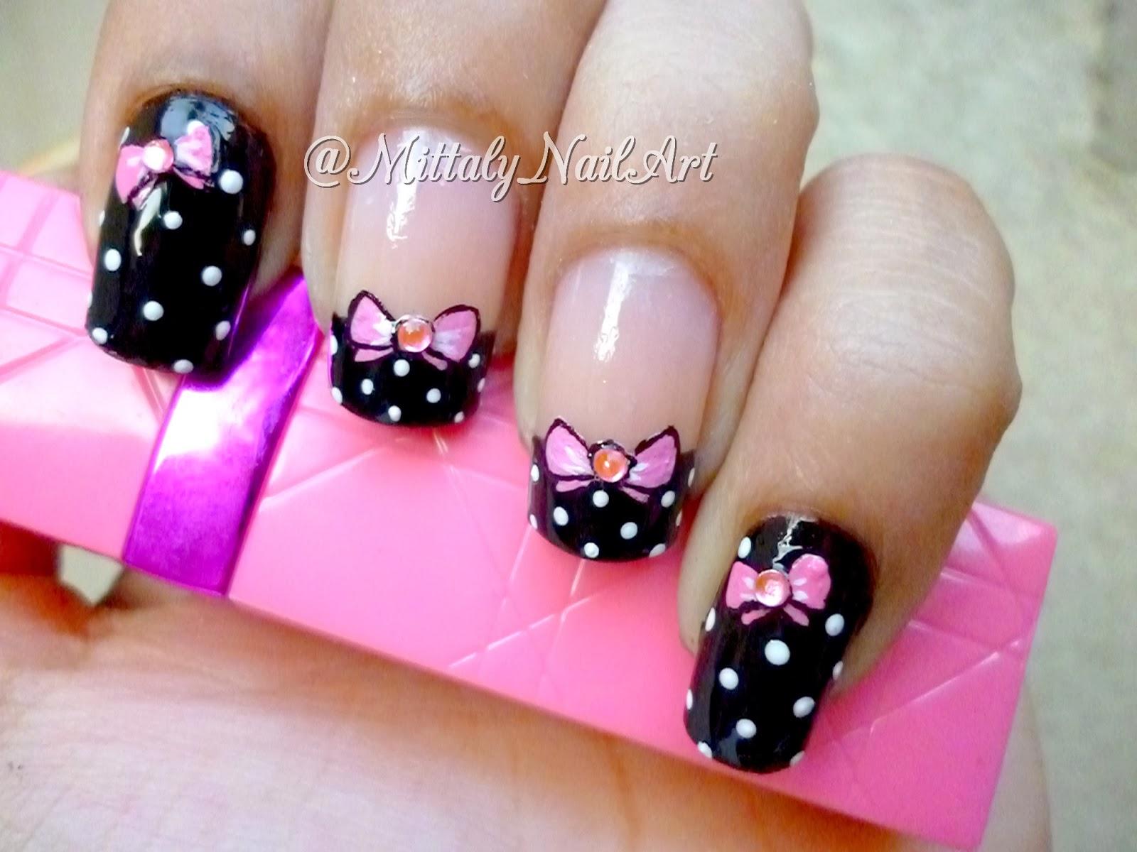 Mittaly Nail Art: Pink Bow nail art - Unhas decoradas lacinho rosa com ...