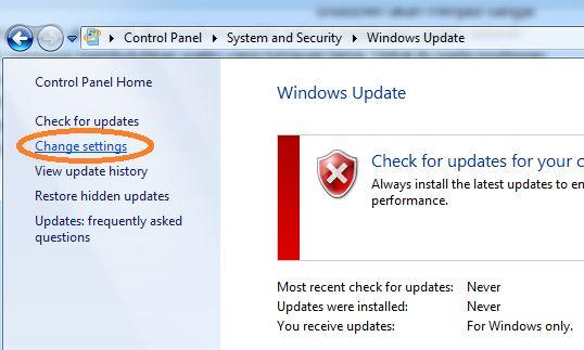 Terakhir pada Important updates pilih Never check for updates (not ...