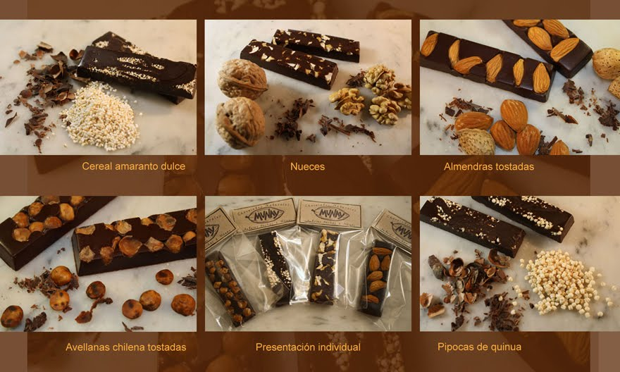 Barras de chocolate 55% cacao ecuatoriano con frutos y cereales andinos.