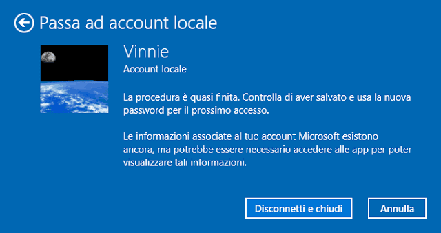 Passa ad account locale Windows 10 Disconnetti e chiudi