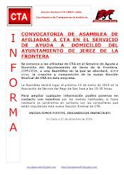 CONVOCATORIA DE ASAMBLEA DE AFILIADAS A CTA EN EL SERVICIO DE AYUDA A DOMICILIO DEL AYUNTAMIENTO DE
