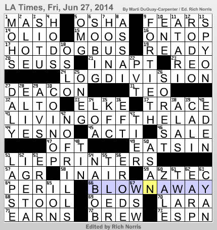 L a times crossword corner friday june 27 2014 marti for Farcical xword