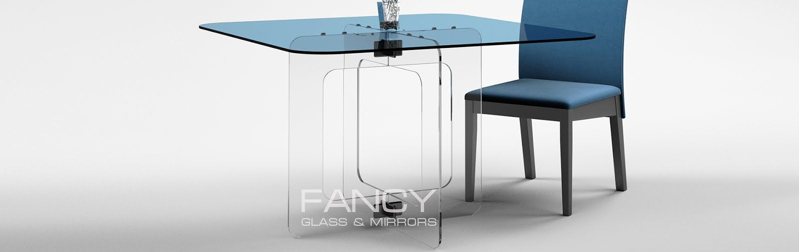 Square dining table with rounded corners