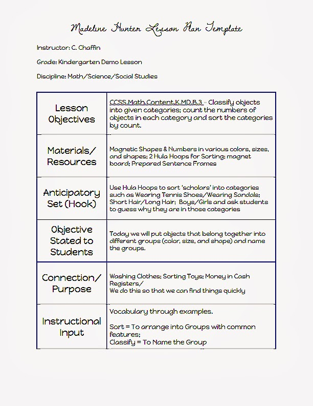 Common Core Blogger Madeline Hunter Lesson Plan Template – Madeline Hunter Lesson Plan Template