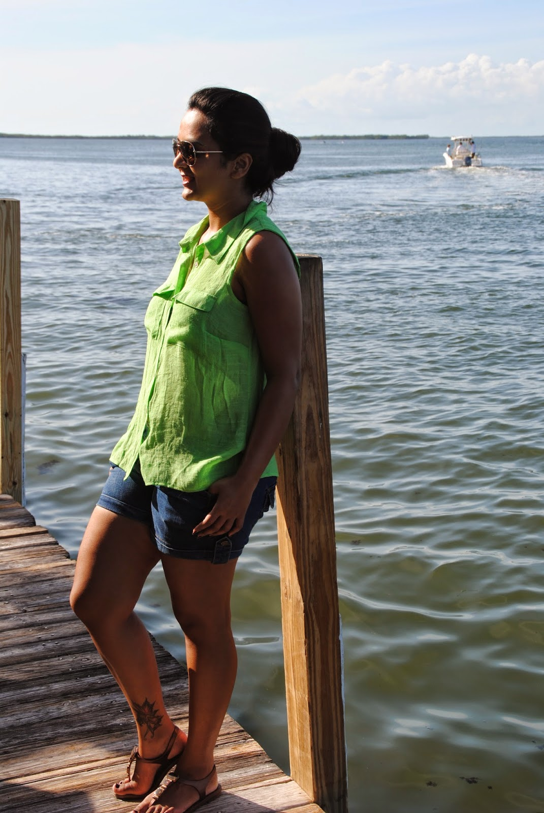 denim shorts, green top, Indian fashion blogger, shorts style, aviator glasses on indian girl
